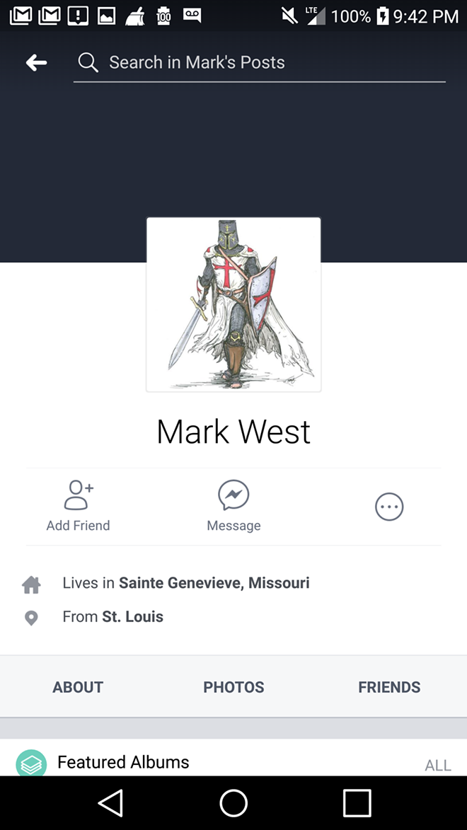Mark West's Facebook page included crusader imagery. - SCREENGRAB