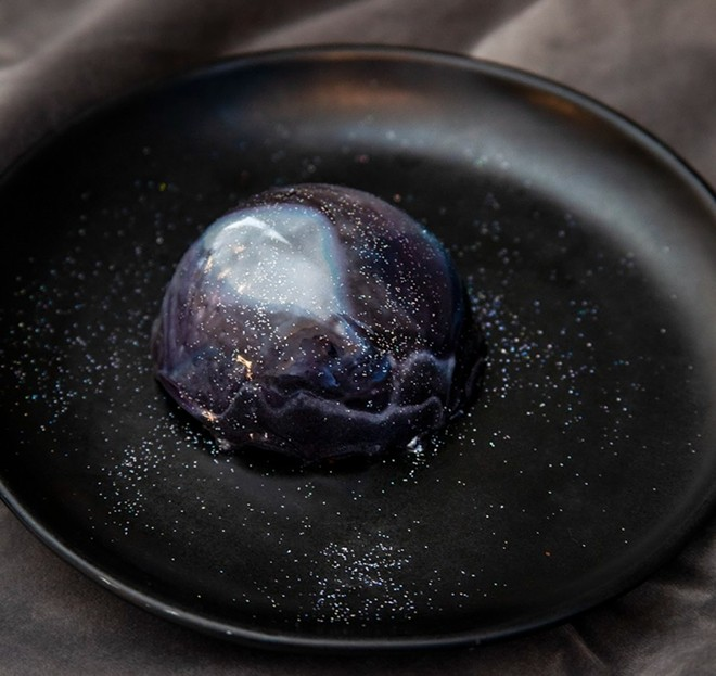 The Starry Night dessert is one of the menu options at the new restaurant, Commonwealth. - COURTESY ANGAD ARTS HOTEL / COMMONWEALTH