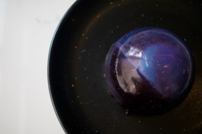 """The """"Starry Night,"""" made with chocolate torte, blueberry gelee and chocolate creme de pasitterie, is Commonwealth's signature dessert. - CHERYL BAEHR"""