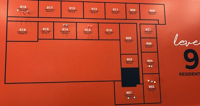 As of February 17, six apartments had been signed for on Level 9, the highest non-VIP floor. - PHOTO BY CAITLIN LEE
