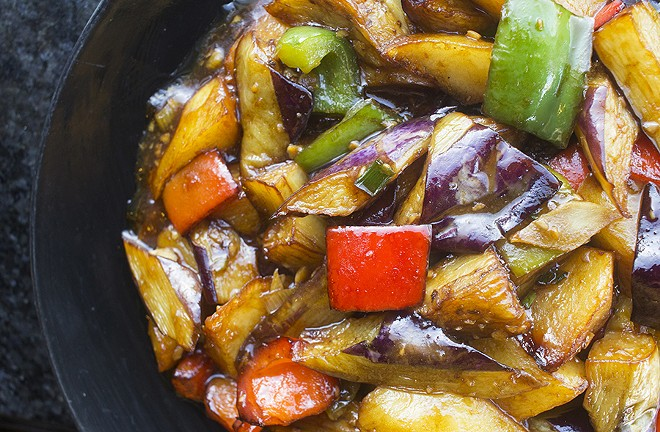 Vegetables in brown sauce with eggplant, potato and bell peppers. - PHOTO BY MABEL SUEN