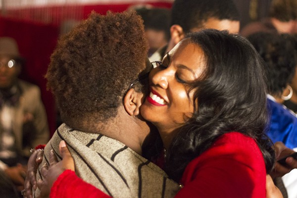 Tishaura Jones embraces Kayla Reed during an election watch party Tuesday night. - PHOTO BY DANNY WICENTOWSKI