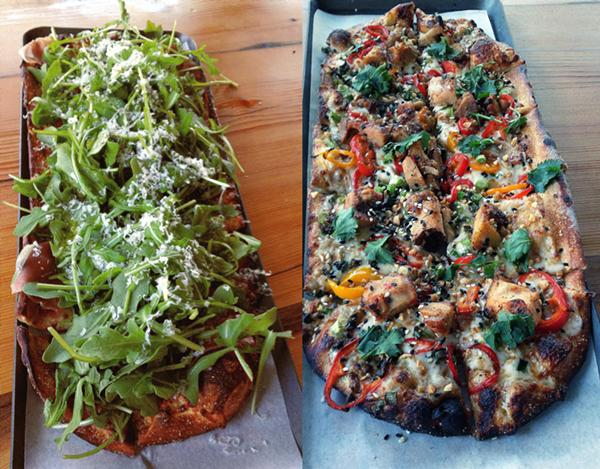 "The fresh, zesty ""Rocket"" (left) and the spicy ""Thai Dye"" pizza (right). - PHOTOS BY NICK FIERRO"