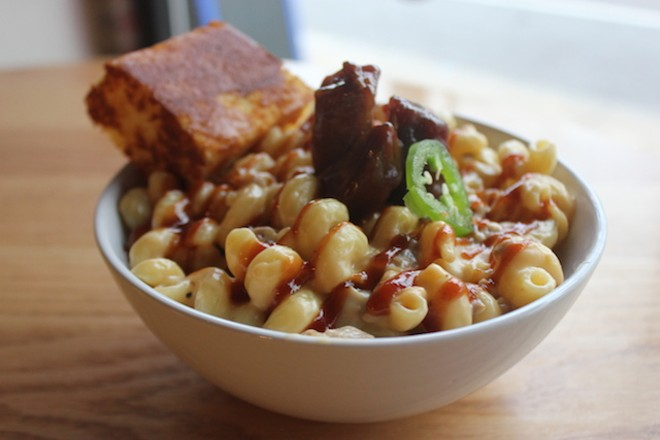 """The BBQ Pork Burnt End Mac"" is one of a half-dozen unique takes on mac & cheese. - PHOTO BY SARAH FENSKE"