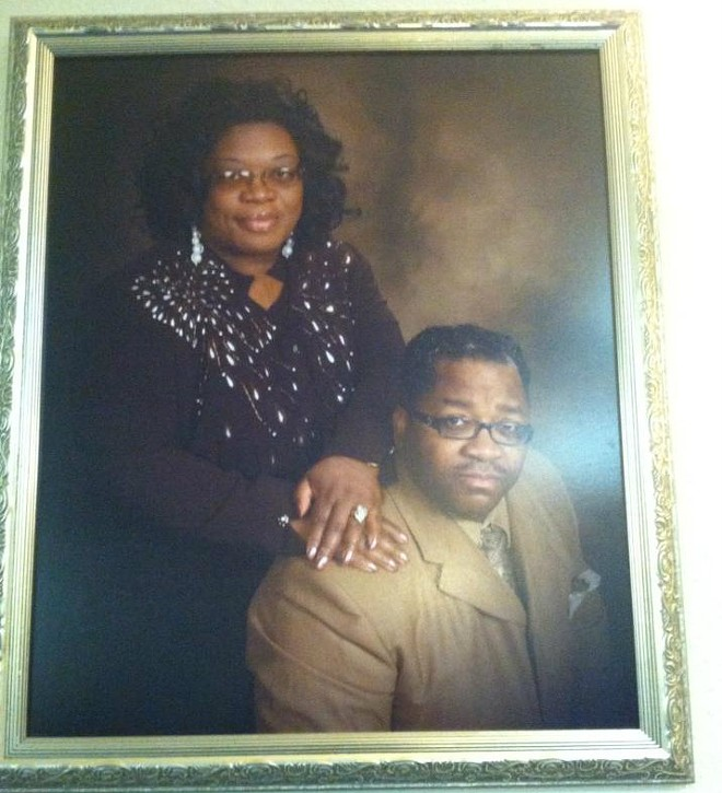 """New Birth Powerplex Ministries posted this photo of a framed portrait of """"our wonderful Pastor & Beautiful First Lady Stafford"""" on its Facebook page in 2013. - IMAGE VIA FACEBOOK"""