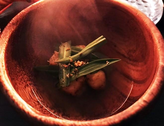 Mussel Dashi / Fermented Potato Dumplings / Stridolo / Salted Mussels — Mussel dashi over fermented potato dumplings; garnished with stridolo leaves and shaved salted mussels. - SARA GRAHAM