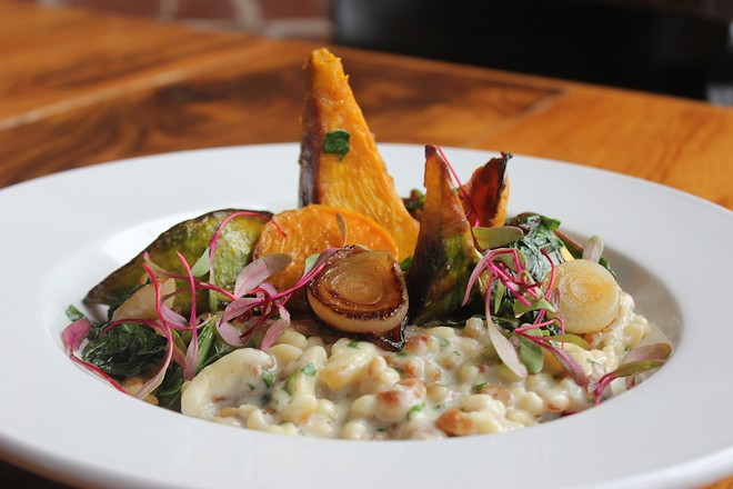 The Kabocha squash spatzle features dumplings, squash and cipollini onions in a gruyere sauce. - PHOTO BY SARAH FENSKE
