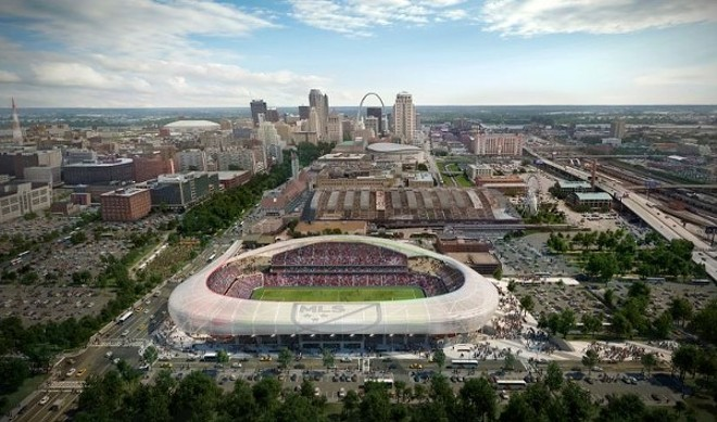 A rendering of the proposed downtown pro-Soccer stadium. Expected price tag: $155 million-to-$200 million. - VIA HOK