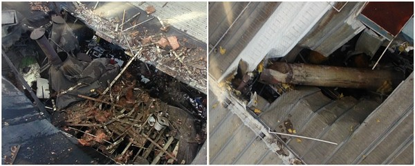 A piece of an industrial boiler shot out of the roof of Loy-Lange Box Co. (L) and crashed through the roof of Faultless Healthcare Linen (R) on Monday. - IMAGES VIA ST. LOUIS FIRE DEPARTMENT