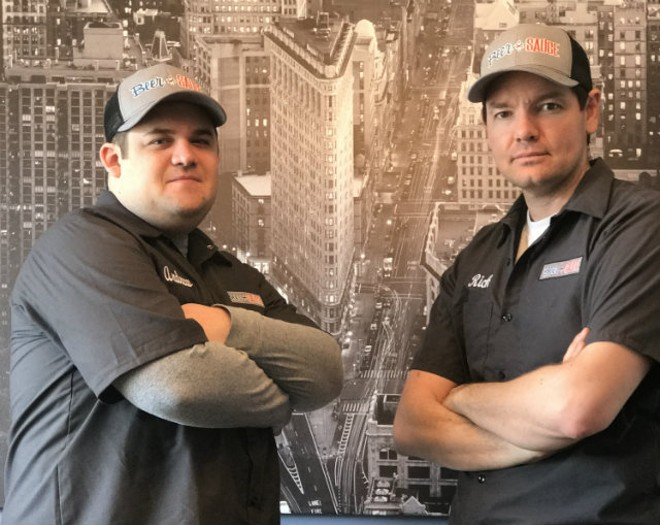 Andrew Tessmer (left) and Rick Duree (right) will open up the BeerSauce Shop in St. Peter this May, which will sell craft beer and craft sauce brands. - COURTESY OF THE BEERSAUCE SHOP