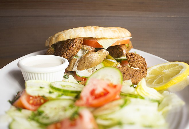 The special falafel sandwich. - PHOTO BY MABEL SUEN