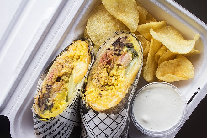 """The """"Cubano Phatada"""" features pulled pork, ham, Swiss and Chihuahua cheeses, Spanish rice, seasoned black beans, pickles and mojo mustard. - PHOTO BY MABEL SUEN"""