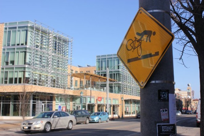 Signs warn cyclists of the dangers posed by the Loop trolley. - SARAH FENSKE