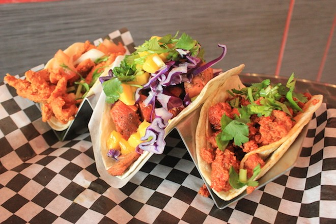 Tacos al pastor, with chicken and chorizo. - PHOTO BY SARAH FENSKE