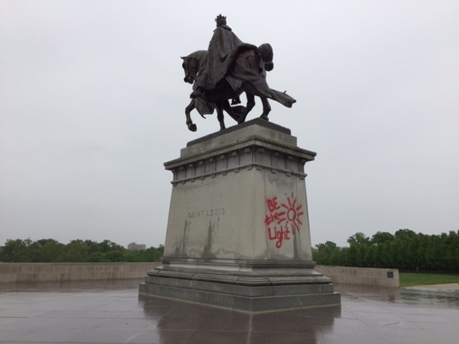 """We can think of better ways of """"being the light"""" than defacing 111-year-old statues. - PHOTO BY SARAH FENSKE"""