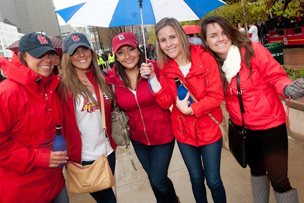 Cardinals fans celebrate opening day in 2014. Or maybe they're just there for the jewelry? - PHOTO BY JON GITCHOFF