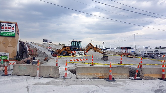The south end of the Kingshighway bridge, circa Wednesday. - PHOTO BY DANNY WICENTOWSKI