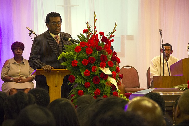 Speaking at Edward Crawford's funeral on May 15, attorney Jerryl Christmas told mourners he would continue fighting the Post-Dispatch for the rights to Crawford's photo. - PHOTO BY DANNY WICENTOWSKI.