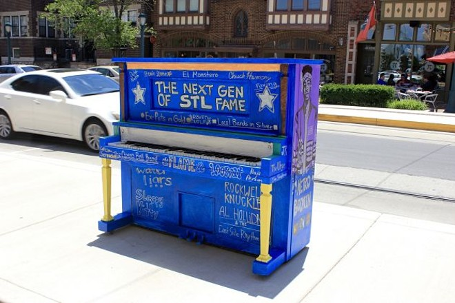 "El Monstero, Rockwell Knuckles, Sleepy Kitty and more are listed on the ""Next Gen of STL Fame"" piano in the Delmar Loop. - PHOTO BY QUINN WILSON"