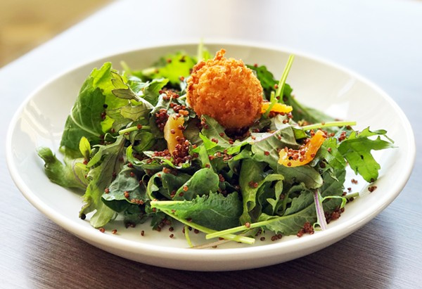 QUINOA KALE SALAD WITH DRIED APRICOTS AND A BAETJE FAMS GOAT CHEESE MEDALLION   SARA GRAHAM