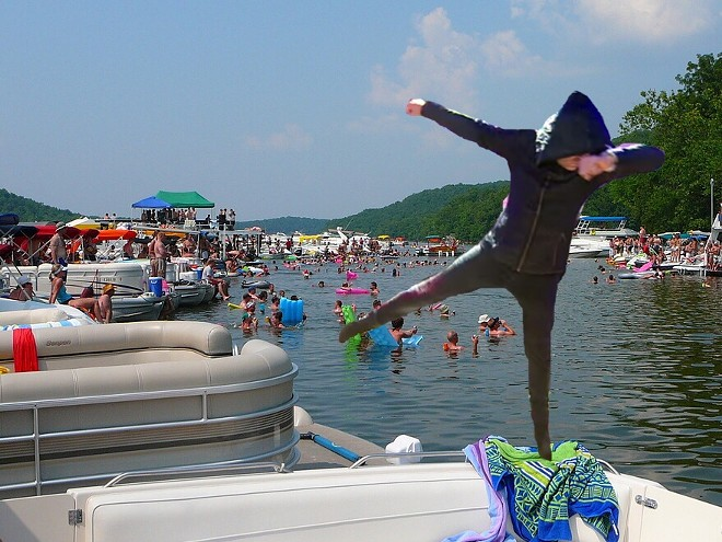 Actual photo of Corey Feldman at the Lake of the Ozarks. (Not really, though.)