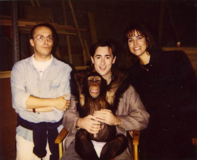 Actor Alan Cumming and Tonka (center) worked together in the 1997 movie Buddy. - PHOTO COURTESY OF PETA.