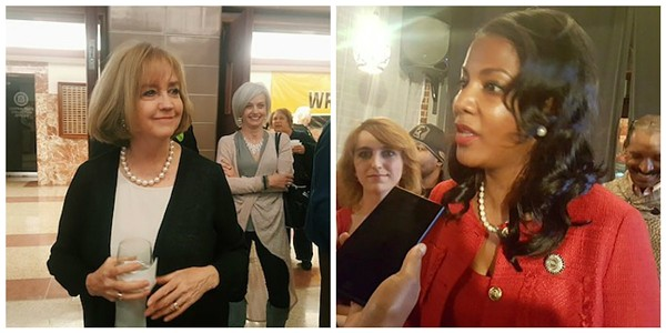 Lyda Krewson, left, bested Tishaura Jones by just 888 votes. - PHOTOS BY DANNY WICENTOWSKI