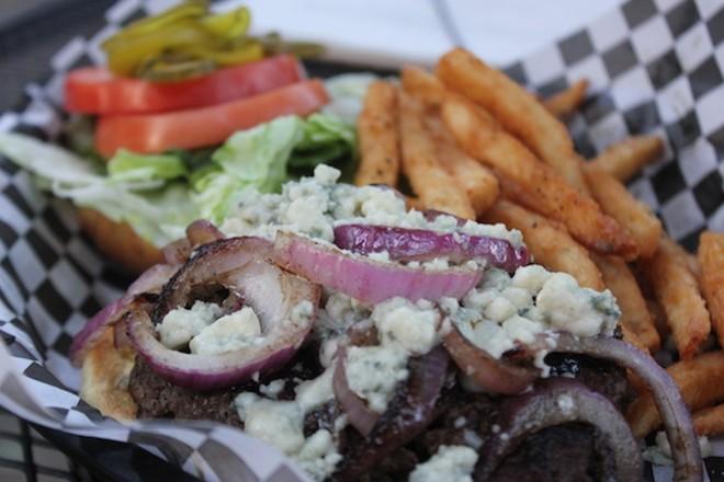 "Lynch Street Tavern's ""Black 'n' Bleu"" burger. - PHOTO BY SARAH FENSKE"