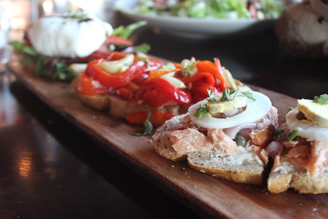 Bruschetta may feature smoked salmon or roasted garlic and red peppers. - PHOTO BY SARAH FENSKE