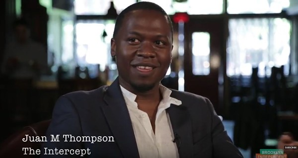 Juan Thompson, shown during a video segment, was building a career as a sharp-tongued journalist before he was fired. - IMAGE VIA BRICTV