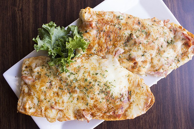 """Loaded Garlic Bread"" is a delicious riff on a Gerber. - PHOTO BY MABEL SUEN"