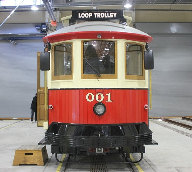 One of the two main trolley cars that were predicted to start serving public rides this summer. - PHOTO BY SARAH FENSKE