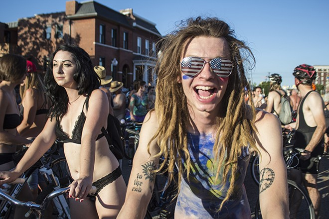 "Although the after-party events are issued permits under the name ""Manchester Bike Bash,"" the actual World Naked Bike Ride is considered an independent protest. - SARA BANNOURA"