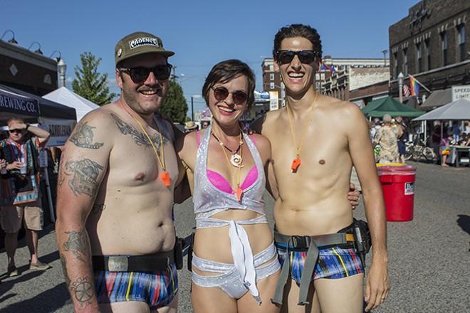 The main organizers of St. Louis' World Naked Bike Ride since 2014, from left: Matt Hartman, Tatyana Telnikova and Matt Green. - SARA BANNOURA