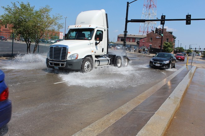 A water main break had water flowing through downtown earlier today. - PHOTO BY QUINN WILSON