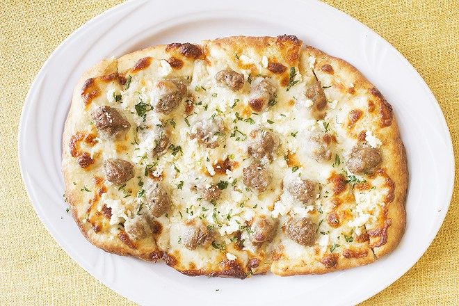 The cevapi pizza combines Bosnian sausage with an Italian classic. - PHOTO BY MABEL SUEN