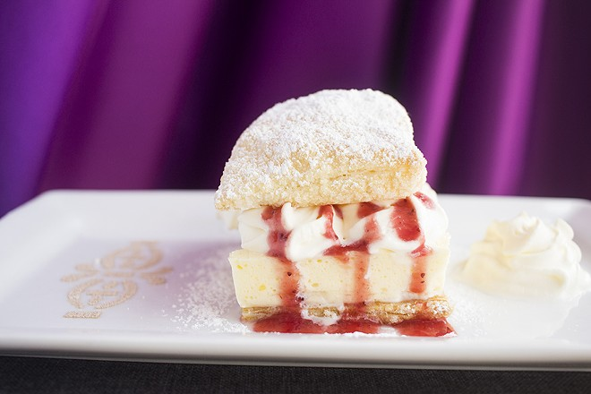 "The ""Modern Krempita"" is topped with whipped cream and strawberry coulis. - PHOTO BY MABEL SUEN"