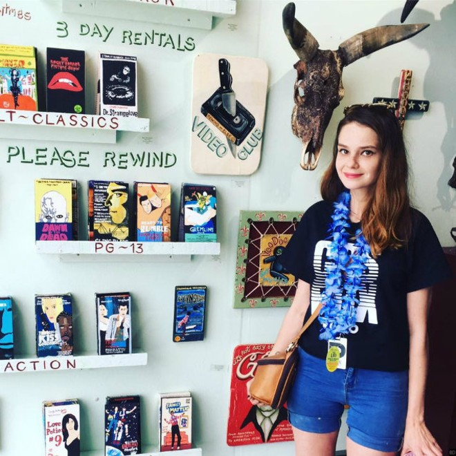 Artist Katie Winchester poses with her at the Scope Fair in Miami, Florida. - PHOTO COURTESY OF KATIE WINCHESTER.