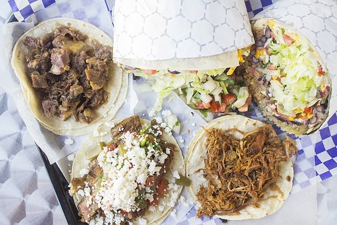 Savory offerings include the cabeza taco, steak fajita taco, carnitas taco and carnitas burrito. - PHOTO BY MABEL SUEN