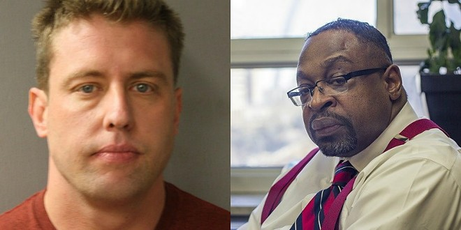 Former St. Louis officer Jason Stockley, left, was drilled on the stand by prosecutor Robert Steele — but held his ground. - HARRIS COUNTY SHERIFF/DANNY WICENTOWSKI