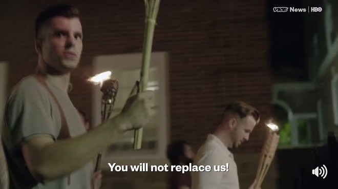 Ladue grad Clark Canepa shown in a screen shot of a white nationalist march in Charlottesville, Virginia. - IMAGE VIA VICE NEWS/HBO