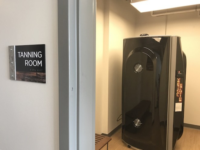 A tanning bed offers free daily use to residents. - PHOTO BY CAITLIN LEE