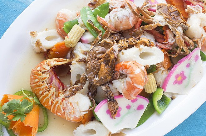 The Seafood platter offers a bounty of shrimp, scallop, lobster, crab, squid and fish cake. - PHOTO BY MABEL SUEN