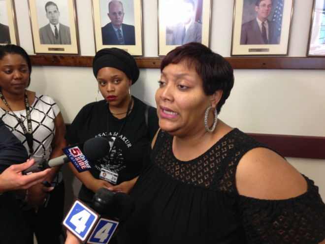 Carmen Steward begs for information in a quadruple homicide in St. Louis County. - PHOTO BY DOYLE MURPHY