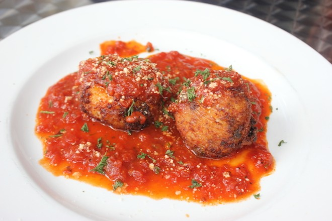 Arancini, a special appetizer on offer earlier this week, offer rice, peas and cheese in Bolognese sauce. - PHOTO BY SARAH FENSKE