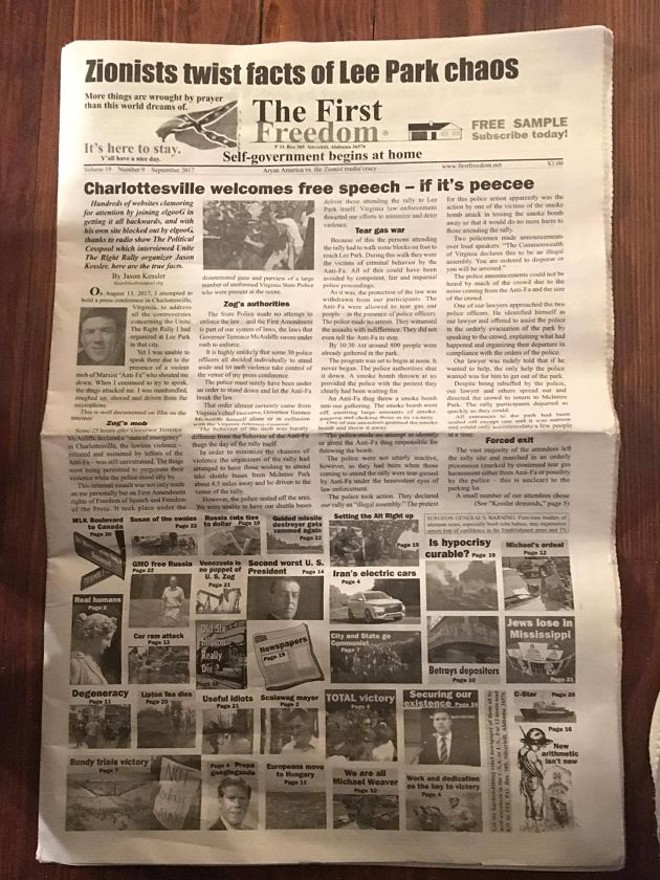 """The front page of the publication features an editorial by Jason Kessler, one of the organizers of the """"Unite the Right"""" rally. You can see a larger version of this page here."""
