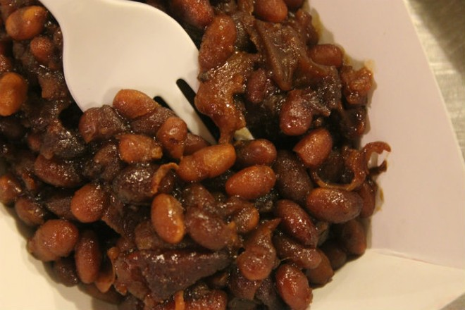 Baked beans are one of the handful of side dishes at The Cut. - CHERYL BAEHR