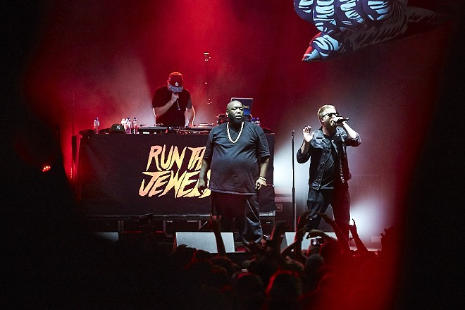 Run the Jewels performing at LouFest on Sunday night. See more photos in our full slideshow. - PHOTO BY THEO WELLING
