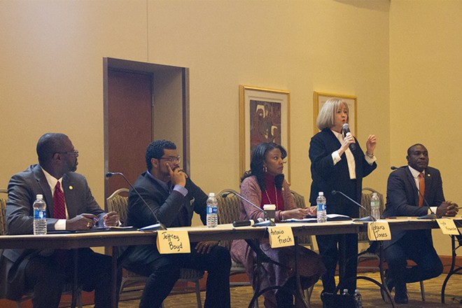 Lyda Krewson speaks during a mayoral candidate forum. - PHOTO BY DANNY WICENTOWSKI