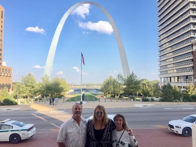 JD Edge, Beth Radtke and Bernie Walker took in the sights in St. Louis after U2 canceled its show at the Dome at America's Center. - COURTESY OF BETH RADTKE